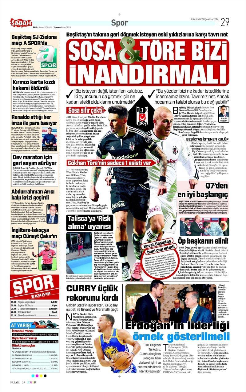 9 Kasım 2016 | Gazetelerin Beşiktaş sayfaları 4
