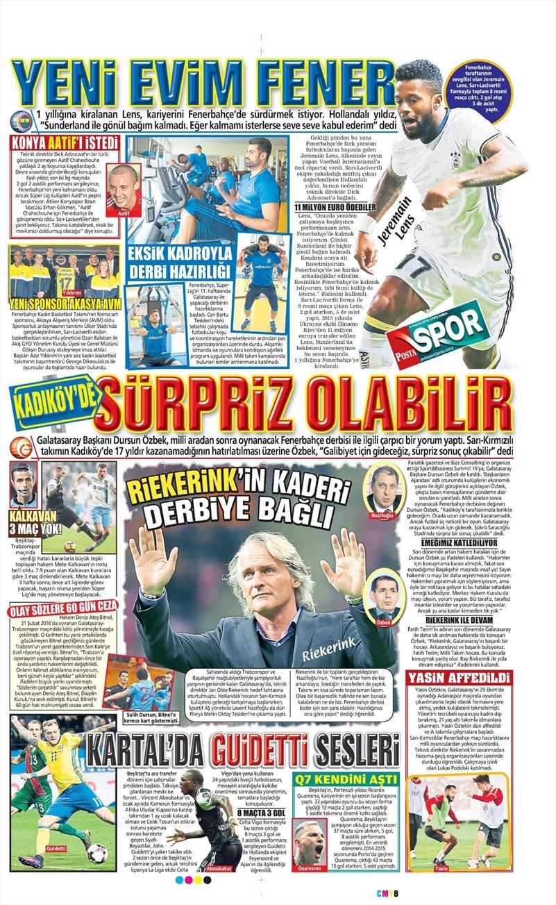 9 Kasım 2016 | Gazetelerin Beşiktaş sayfaları 5