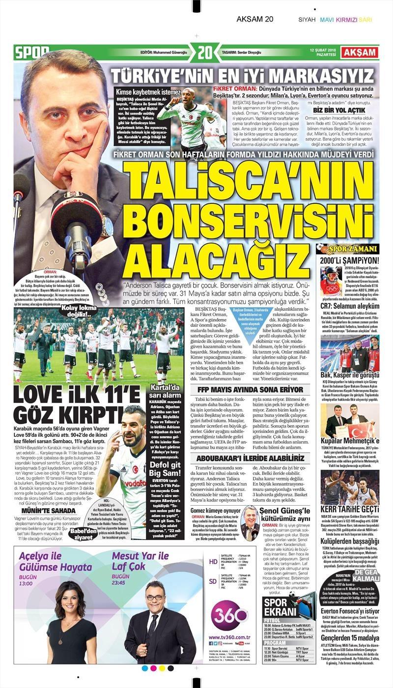 12 Şubat 2018 | Gazetelerin Beşiktaş Manşetleri 1