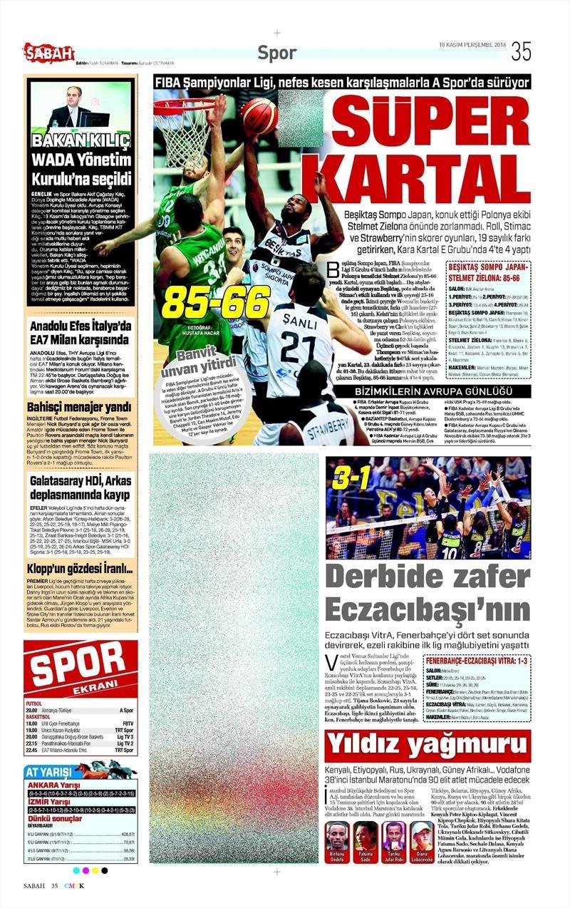 10 Kasım 2016 | Gazetelerin Beşiktaş sayfaları 10