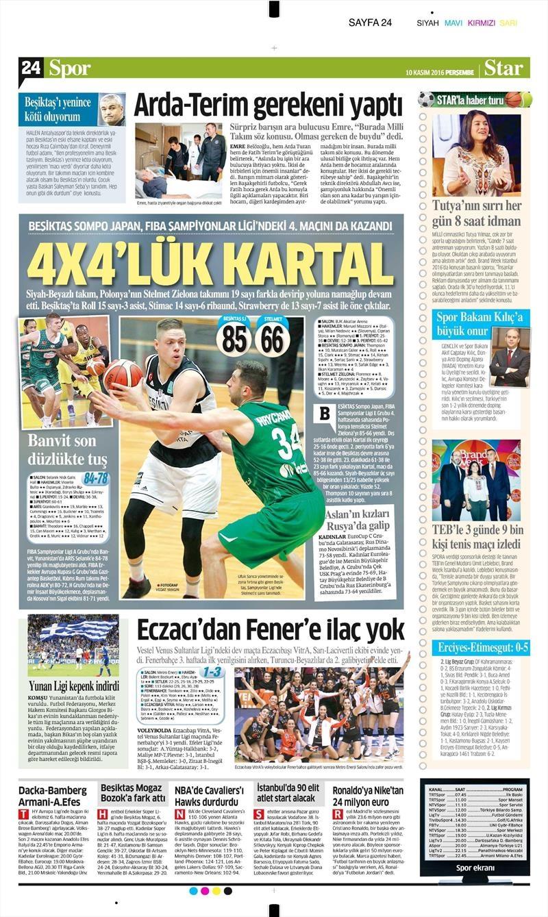 10 Kasım 2016 | Gazetelerin Beşiktaş sayfaları 12