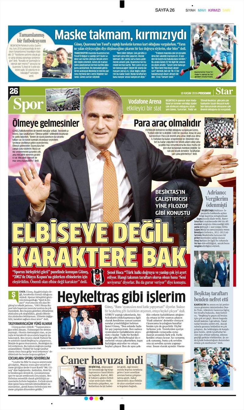 10 Kasım 2016   Gazetelerin Beşiktaş sayfaları 13
