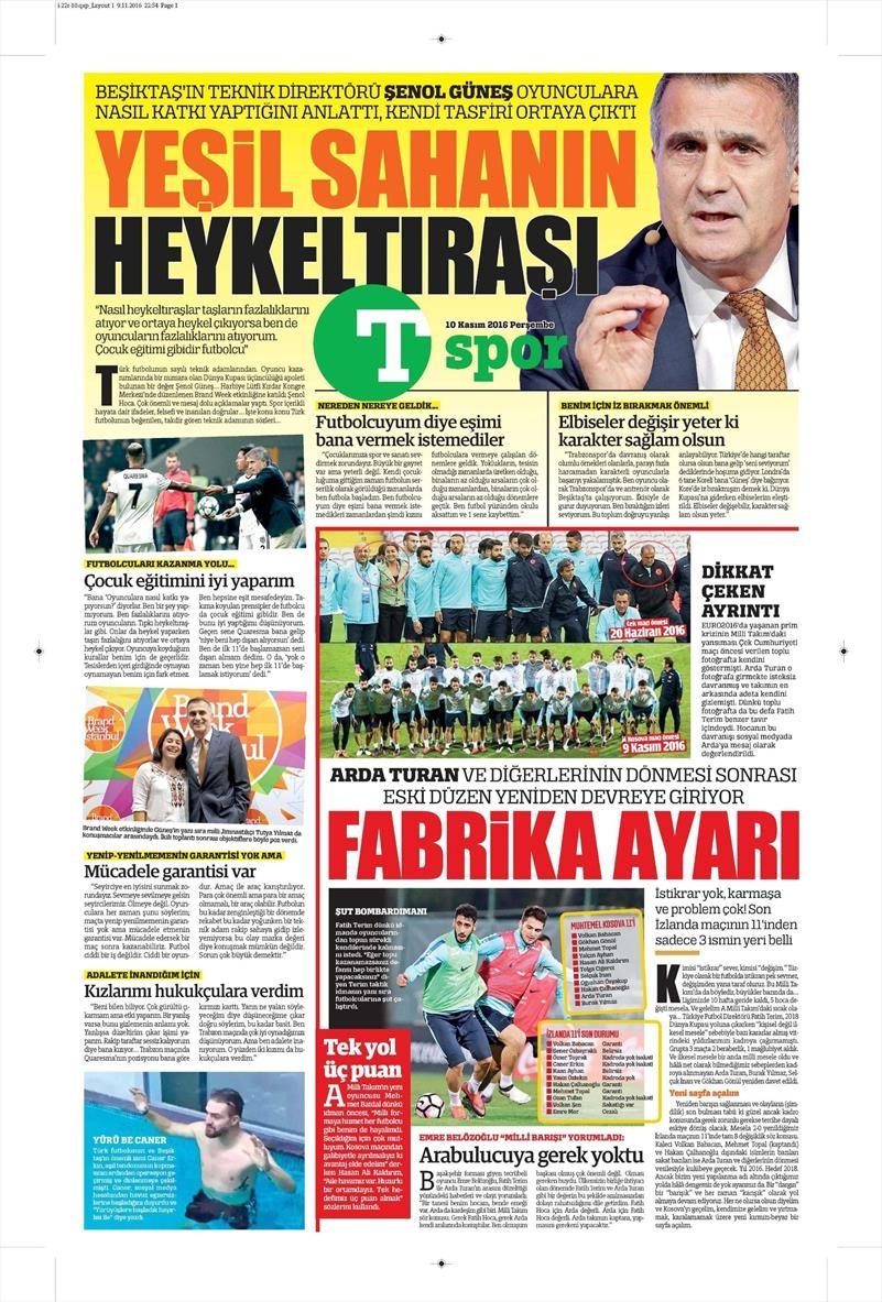 10 Kasım 2016 | Gazetelerin Beşiktaş sayfaları 14