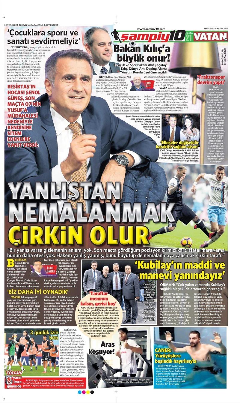10 Kasım 2016 | Gazetelerin Beşiktaş sayfaları 15