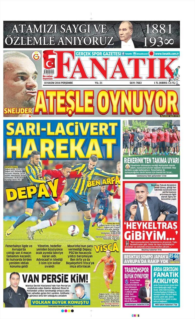 10 Kasım 2016 | Gazetelerin Beşiktaş sayfaları 2