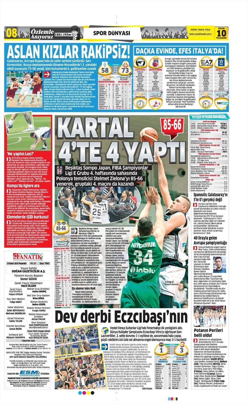 10 Kasım 2016 | Gazetelerin Beşiktaş sayfaları 3