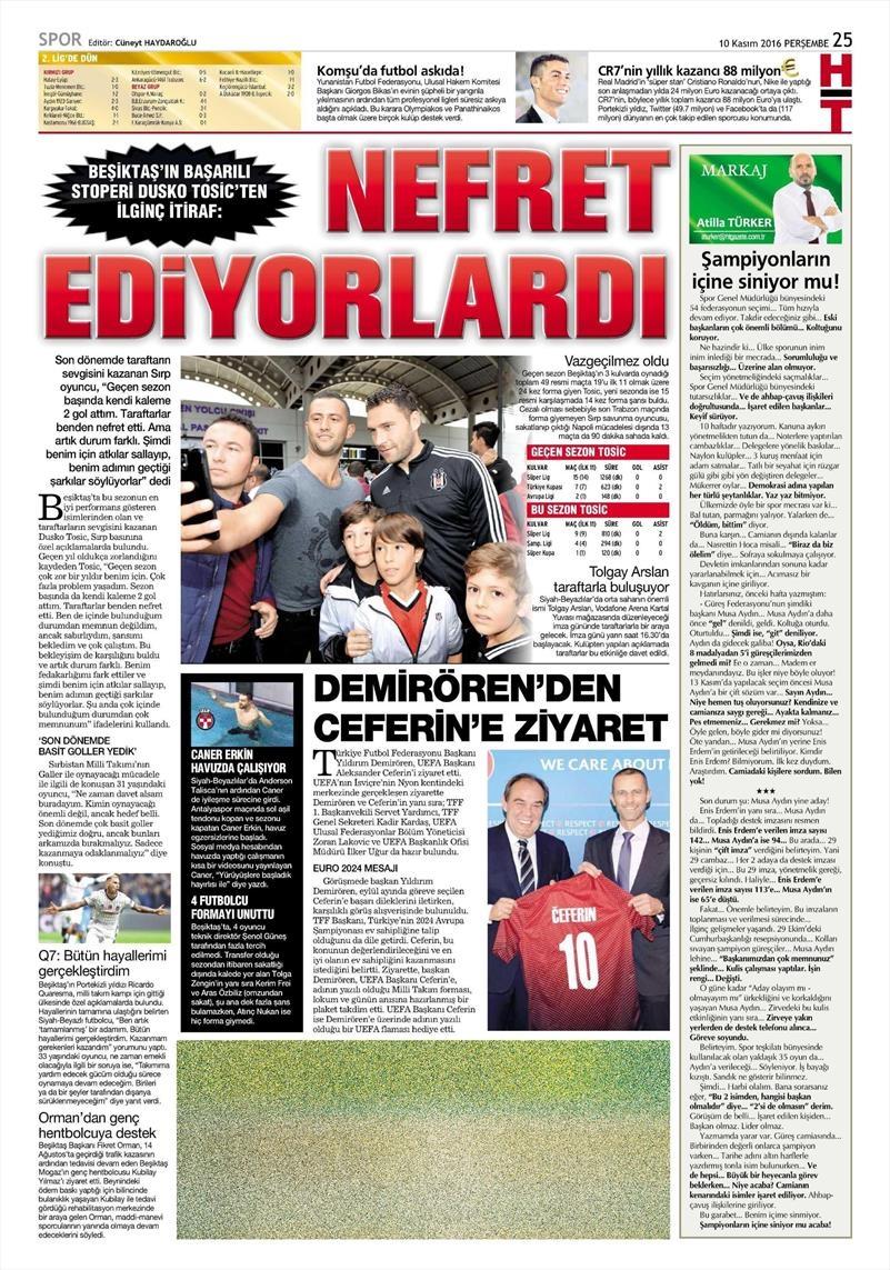 10 Kasım 2016 | Gazetelerin Beşiktaş sayfaları 6