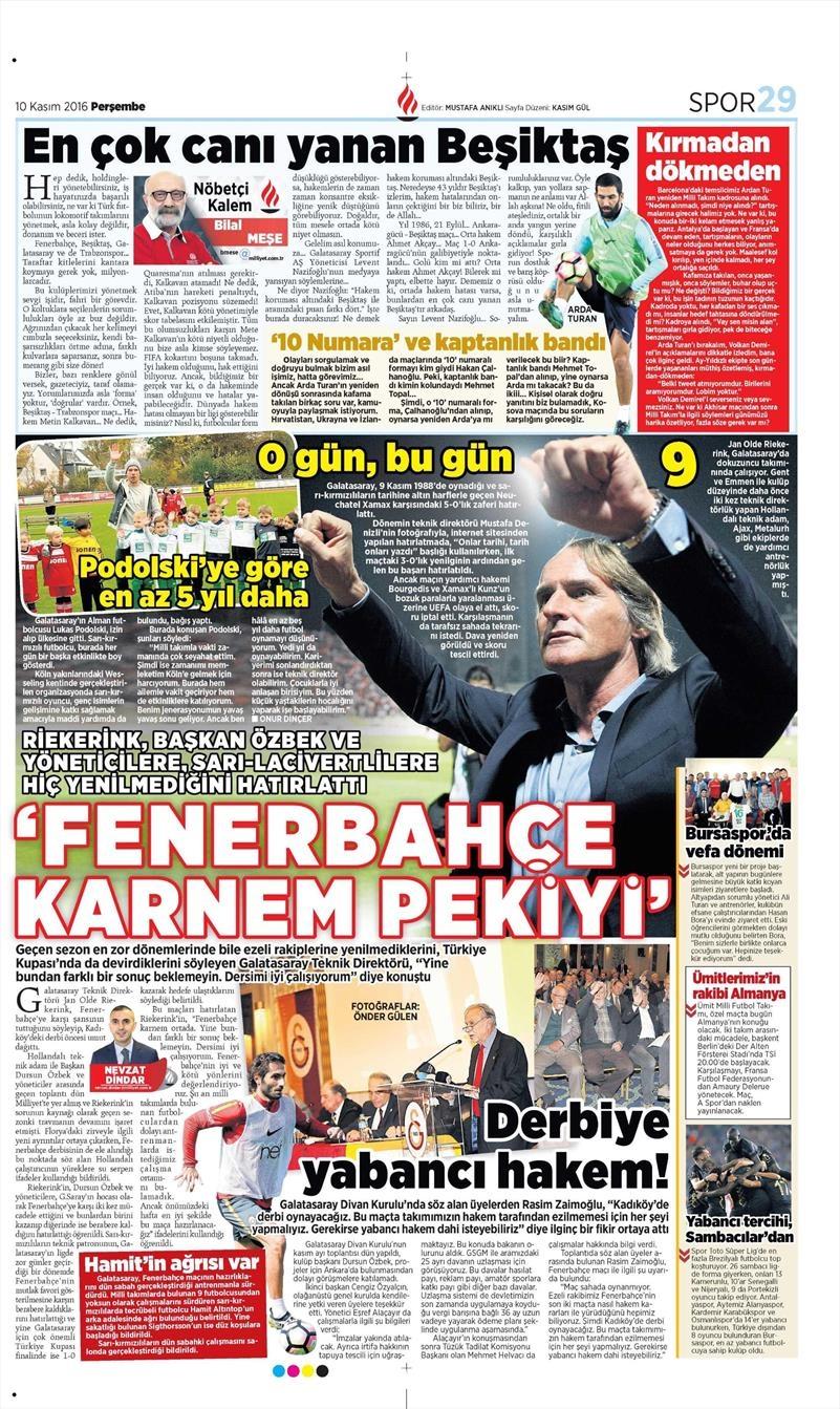 10 Kasım 2016   Gazetelerin Beşiktaş sayfaları 7