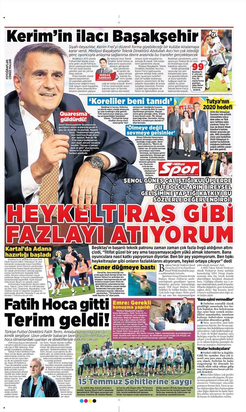 10 Kasım 2016 | Gazetelerin Beşiktaş sayfaları 8