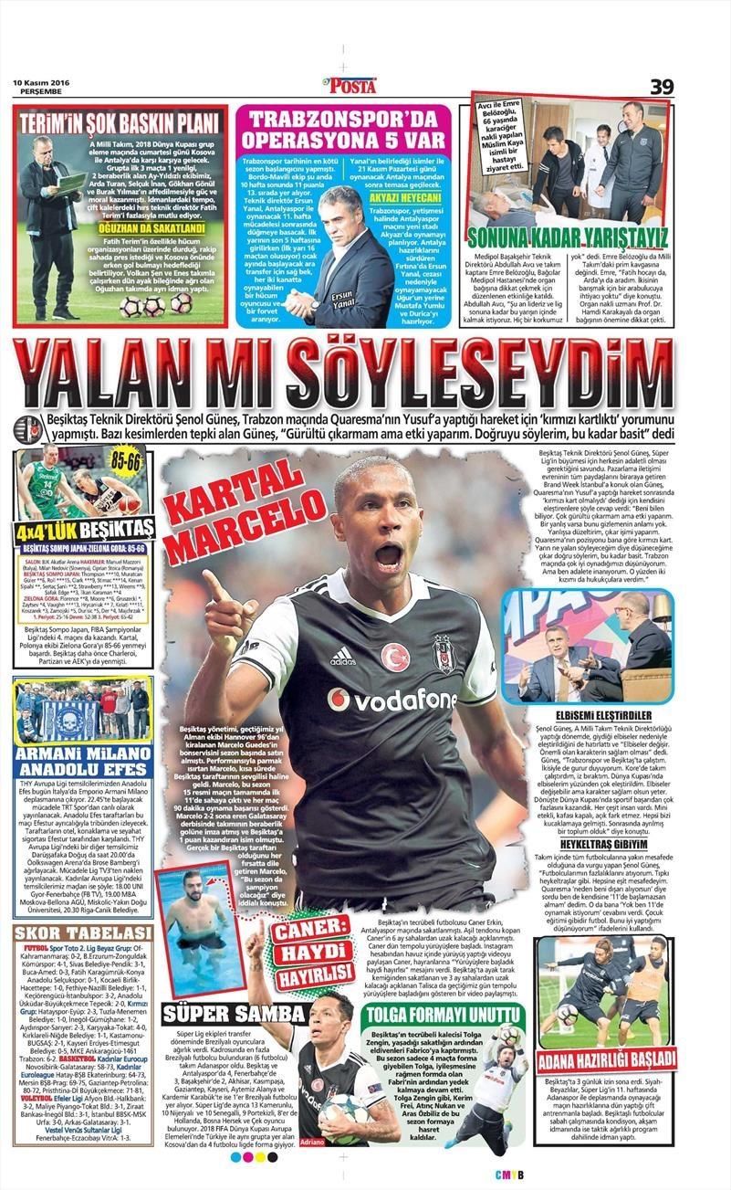 10 Kasım 2016   Gazetelerin Beşiktaş sayfaları 9