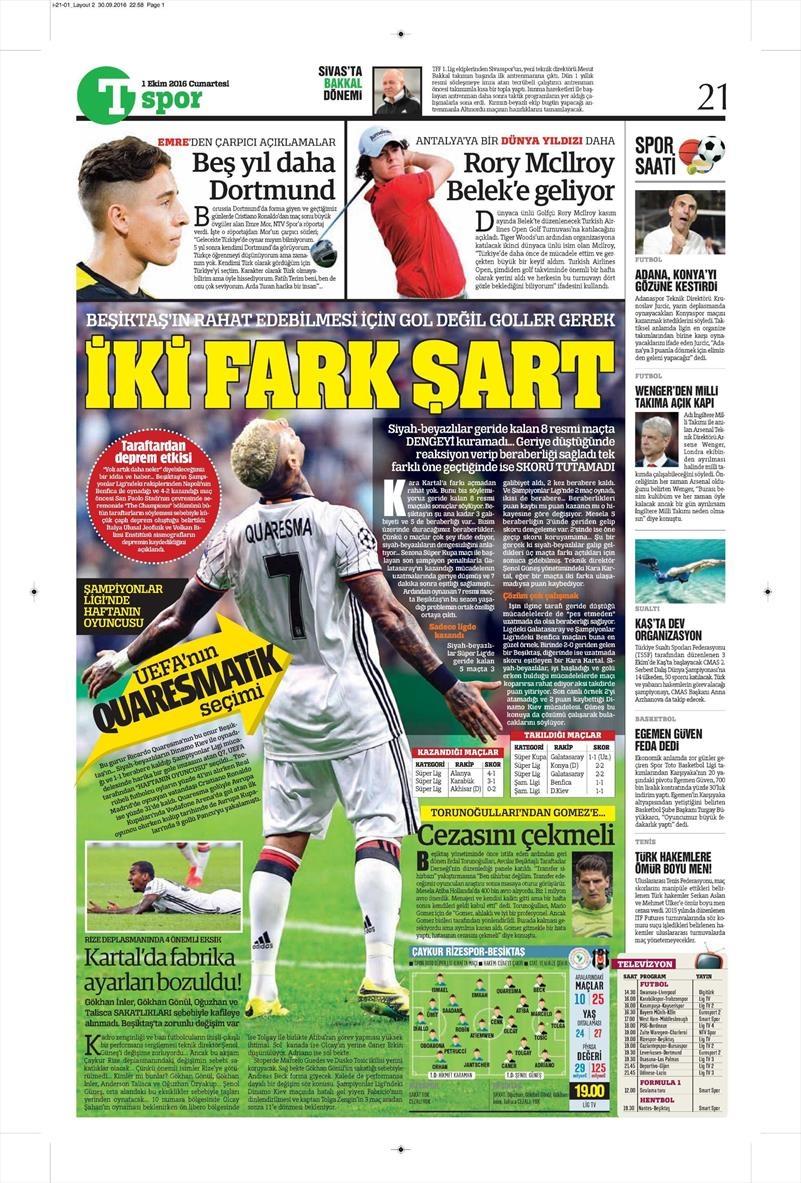 1 Ekim 2016 | Beşiktaş sayfaları 1