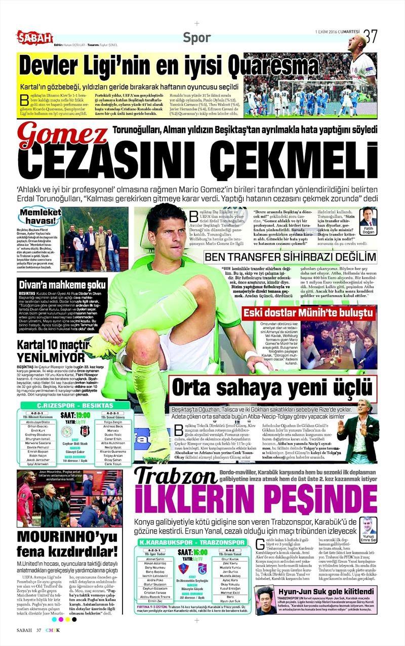 1 Ekim 2016 | Beşiktaş sayfaları 2
