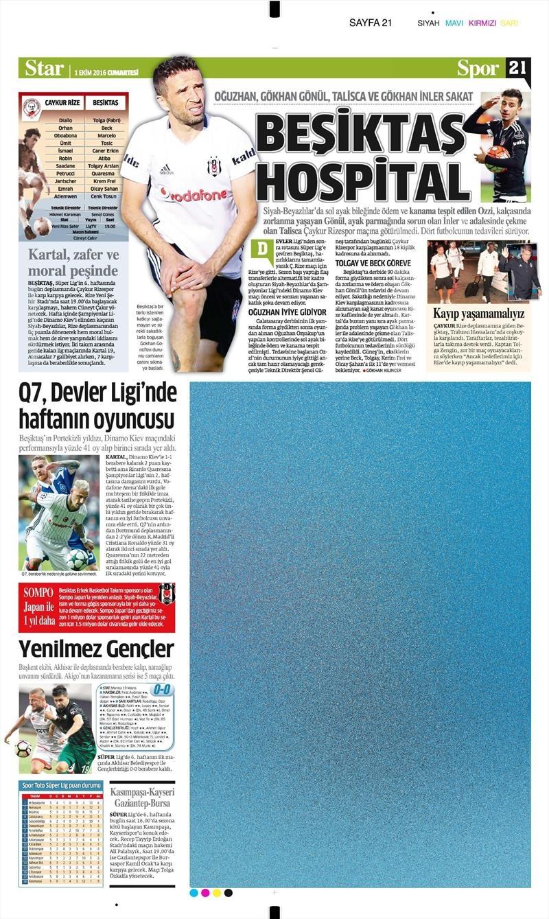 1 Ekim 2016 | Beşiktaş sayfaları 3