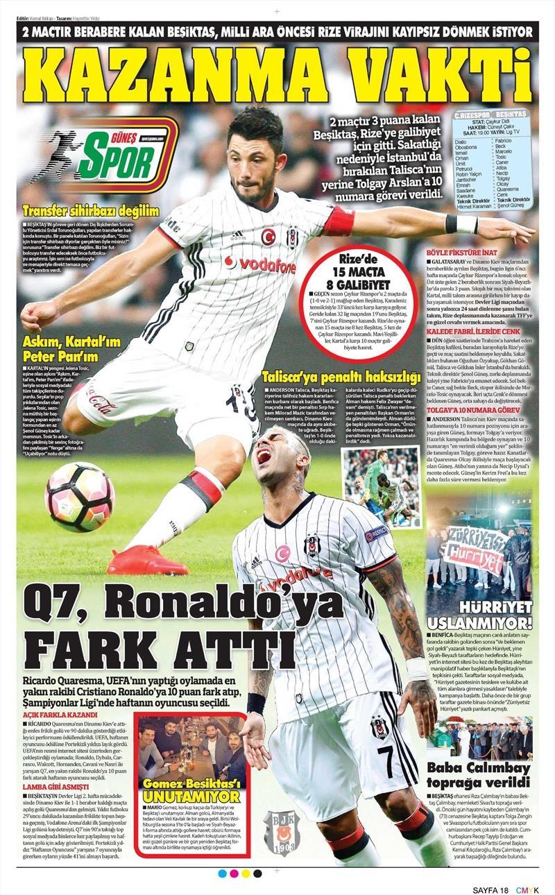 1 Ekim 2016 | Beşiktaş sayfaları 5
