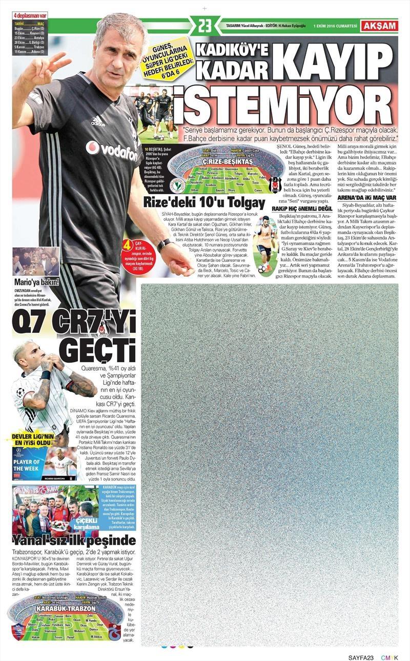 1 Ekim 2016 | Beşiktaş sayfaları 6