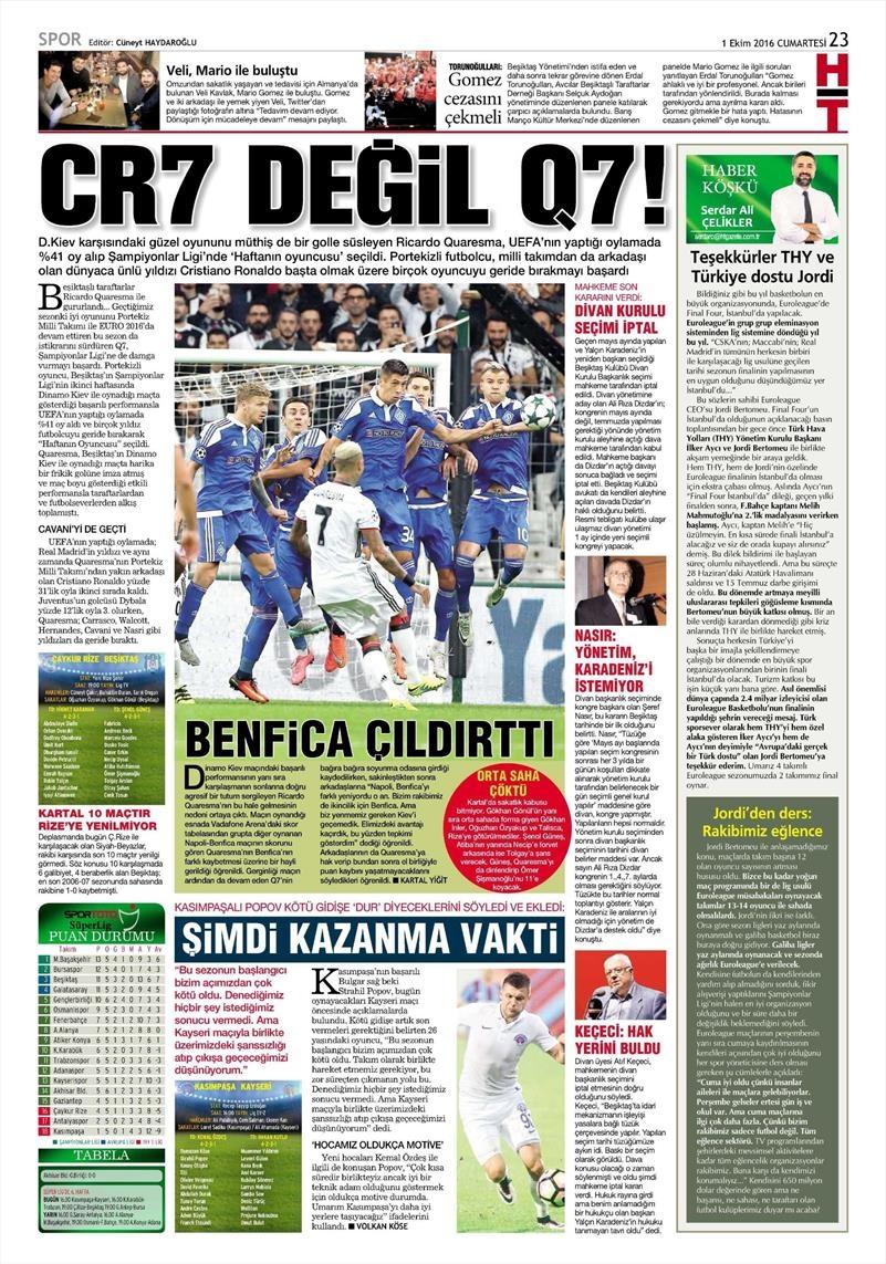 1 Ekim 2016 | Beşiktaş sayfaları 7