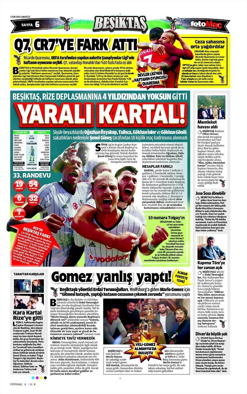 1 Ekim 2016 | Beşiktaş sayfaları 8
