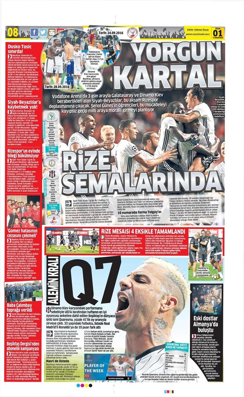 1 Ekim 2016   Beşiktaş sayfaları 9