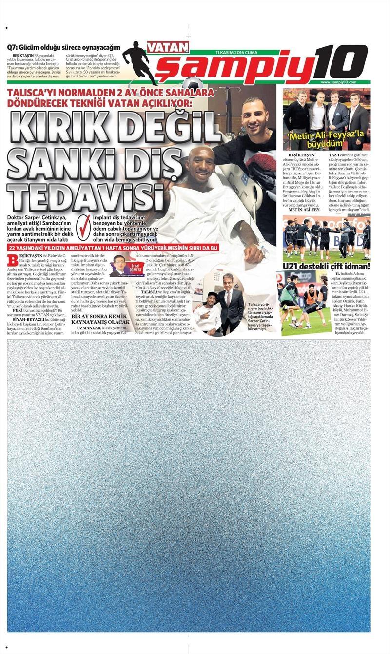11 Kasım 2016   Gazetelerin Beşiktaş sayfaları 1