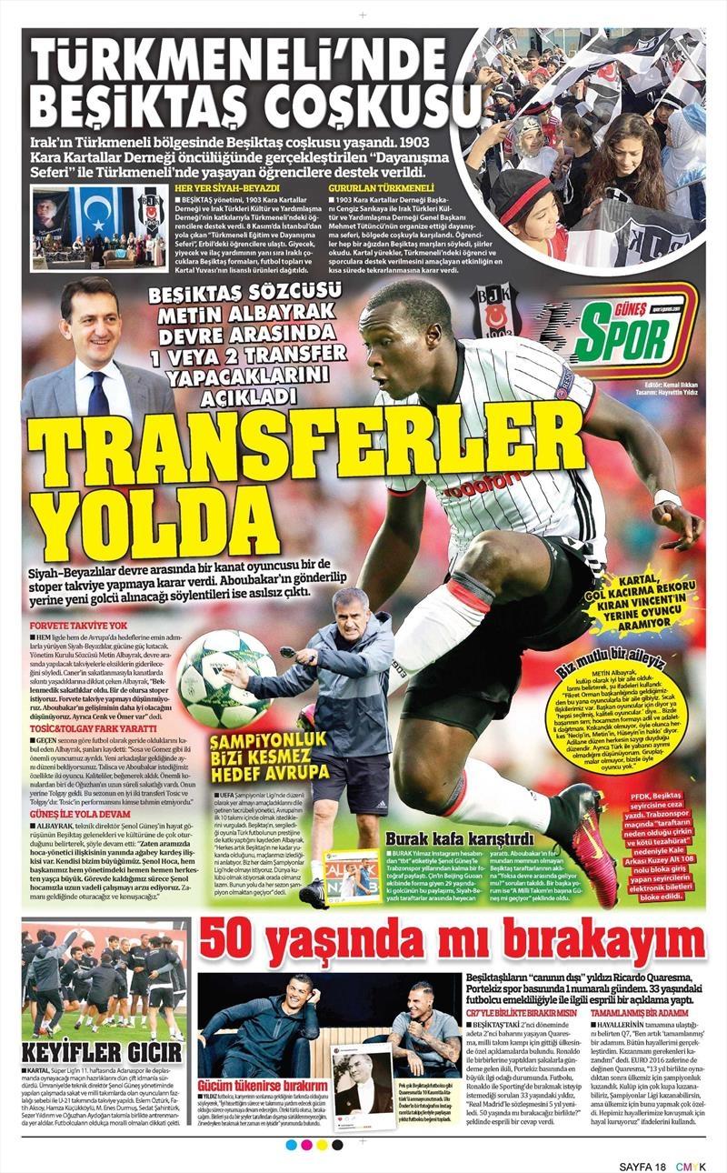 11 Kasım 2016   Gazetelerin Beşiktaş sayfaları 10