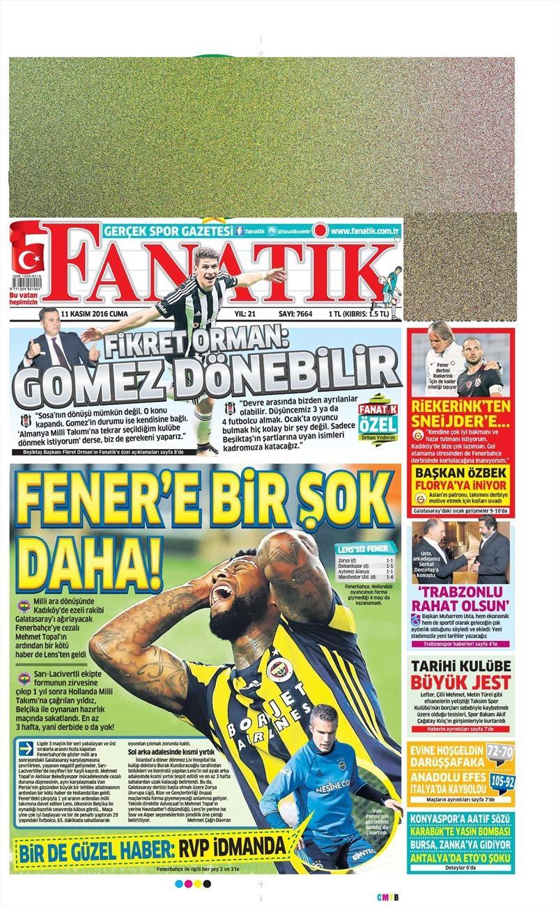 11 Kasım 2016   Gazetelerin Beşiktaş sayfaları 13