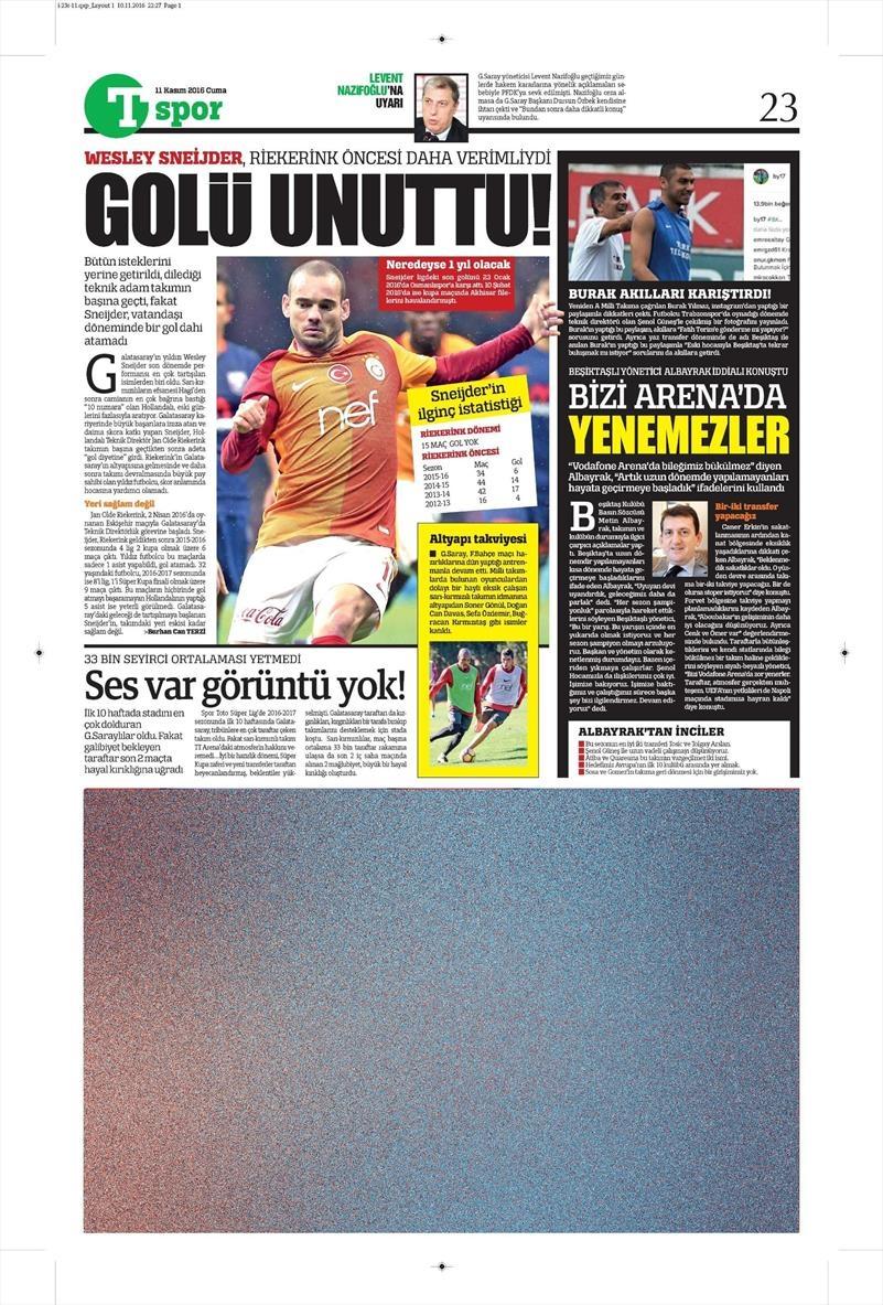 11 Kasım 2016 | Gazetelerin Beşiktaş sayfaları 2