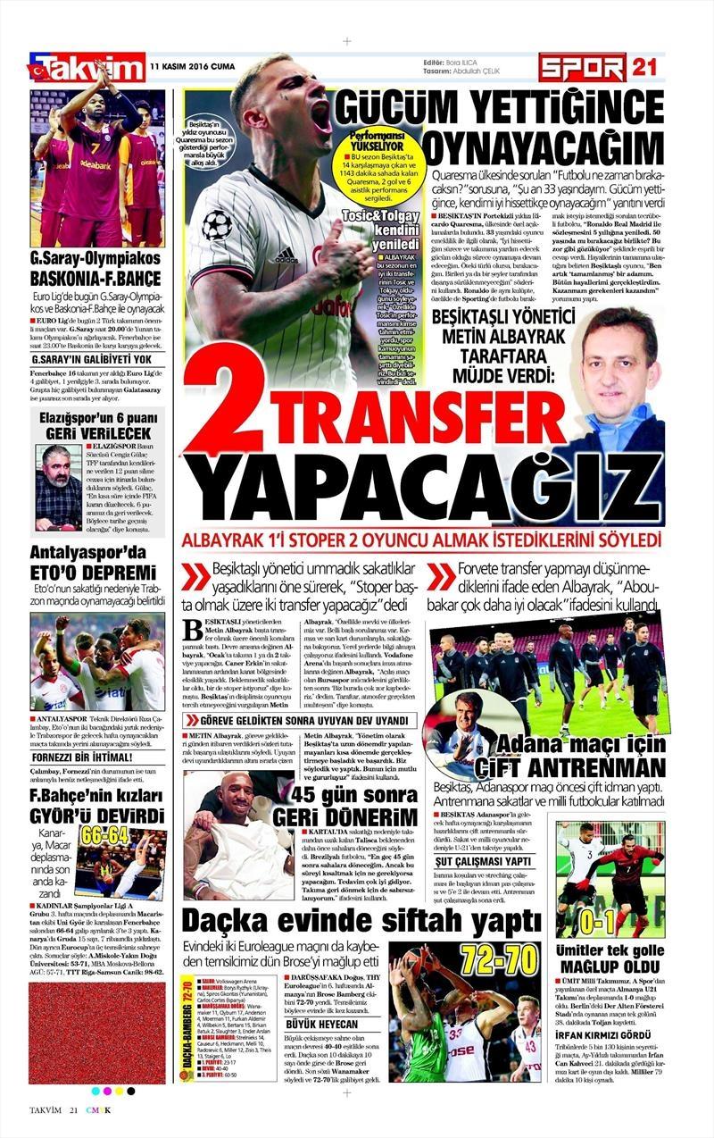 11 Kasım 2016   Gazetelerin Beşiktaş sayfaları 3