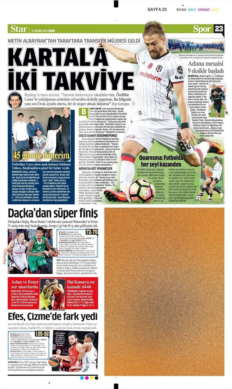 11 Kasım 2016 | Gazetelerin Beşiktaş sayfaları 4