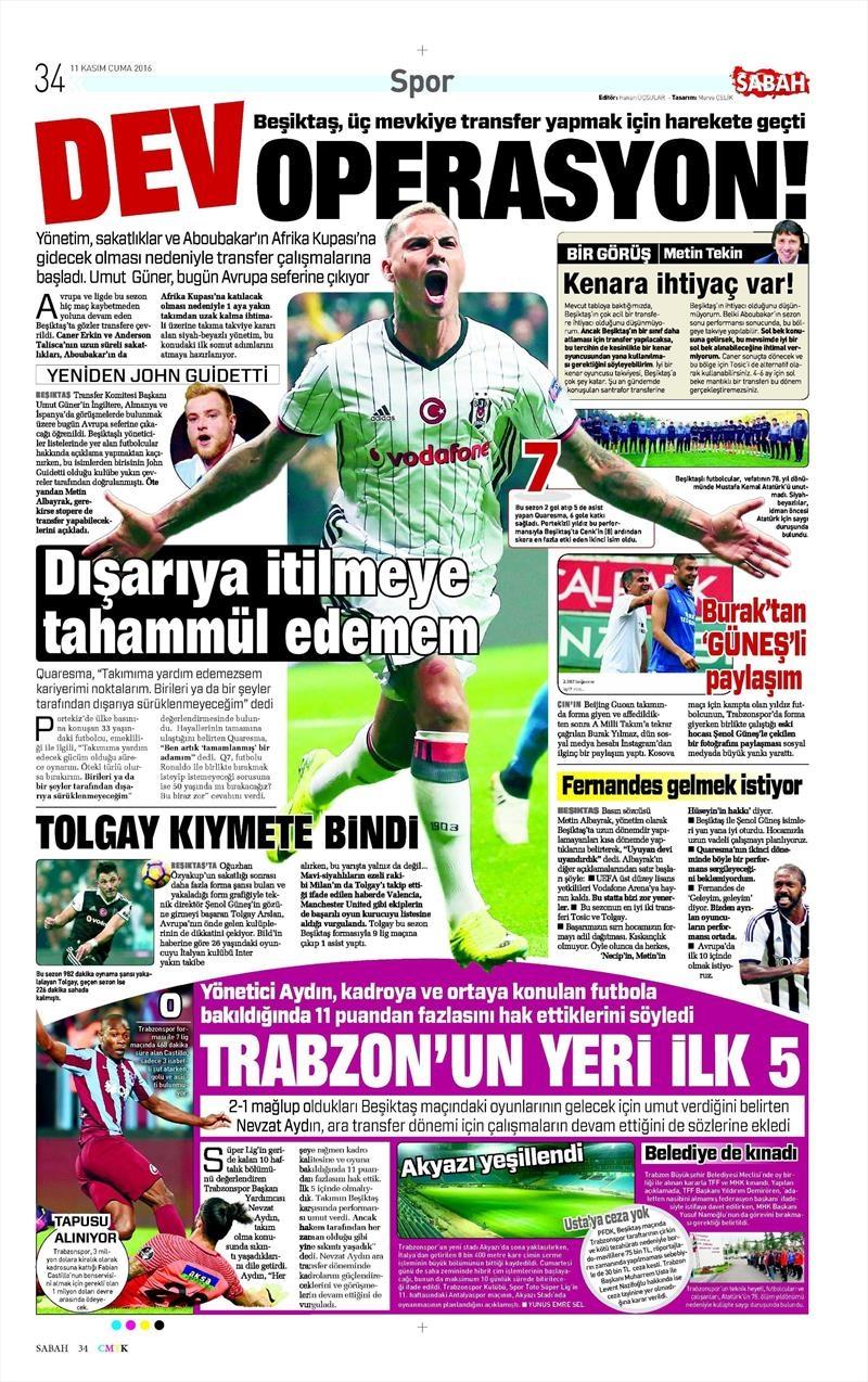 11 Kasım 2016 | Gazetelerin Beşiktaş sayfaları 5