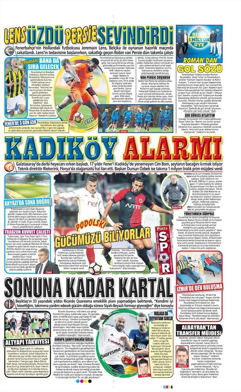 11 Kasım 2016 | Gazetelerin Beşiktaş sayfaları 6