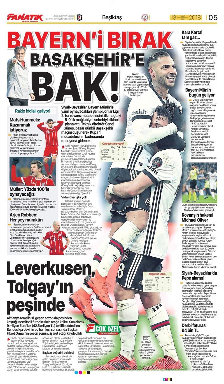 13 Mart 2018 | Gazetelerin Beşiktaş Manşetleri 1
