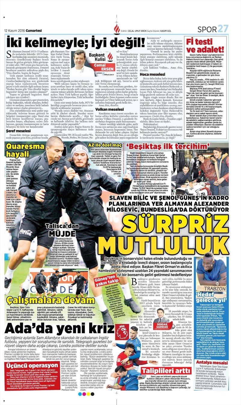 12 Kasım 2016 | Gazetelerin Beşiktaş sayfaları 3