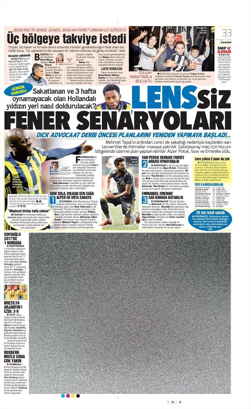 12 Kasım 2016   Gazetelerin Beşiktaş sayfaları 4