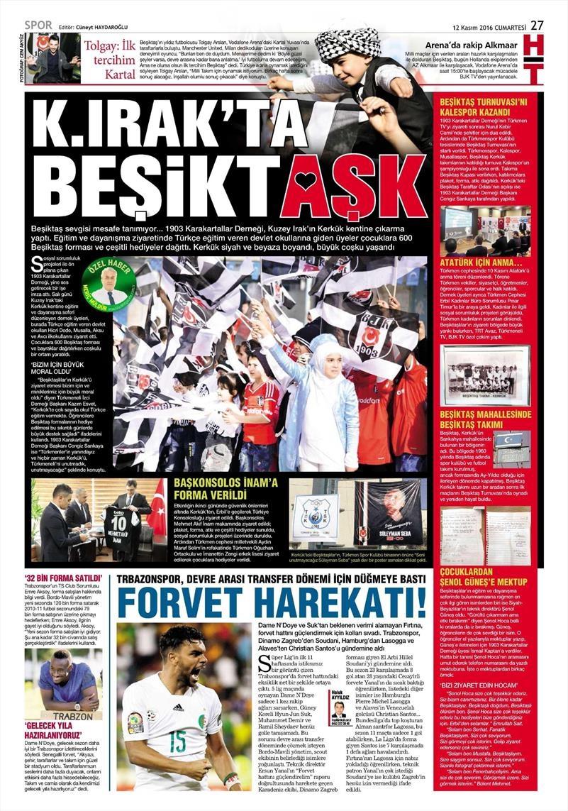 12 Kasım 2016 | Gazetelerin Beşiktaş sayfaları 5