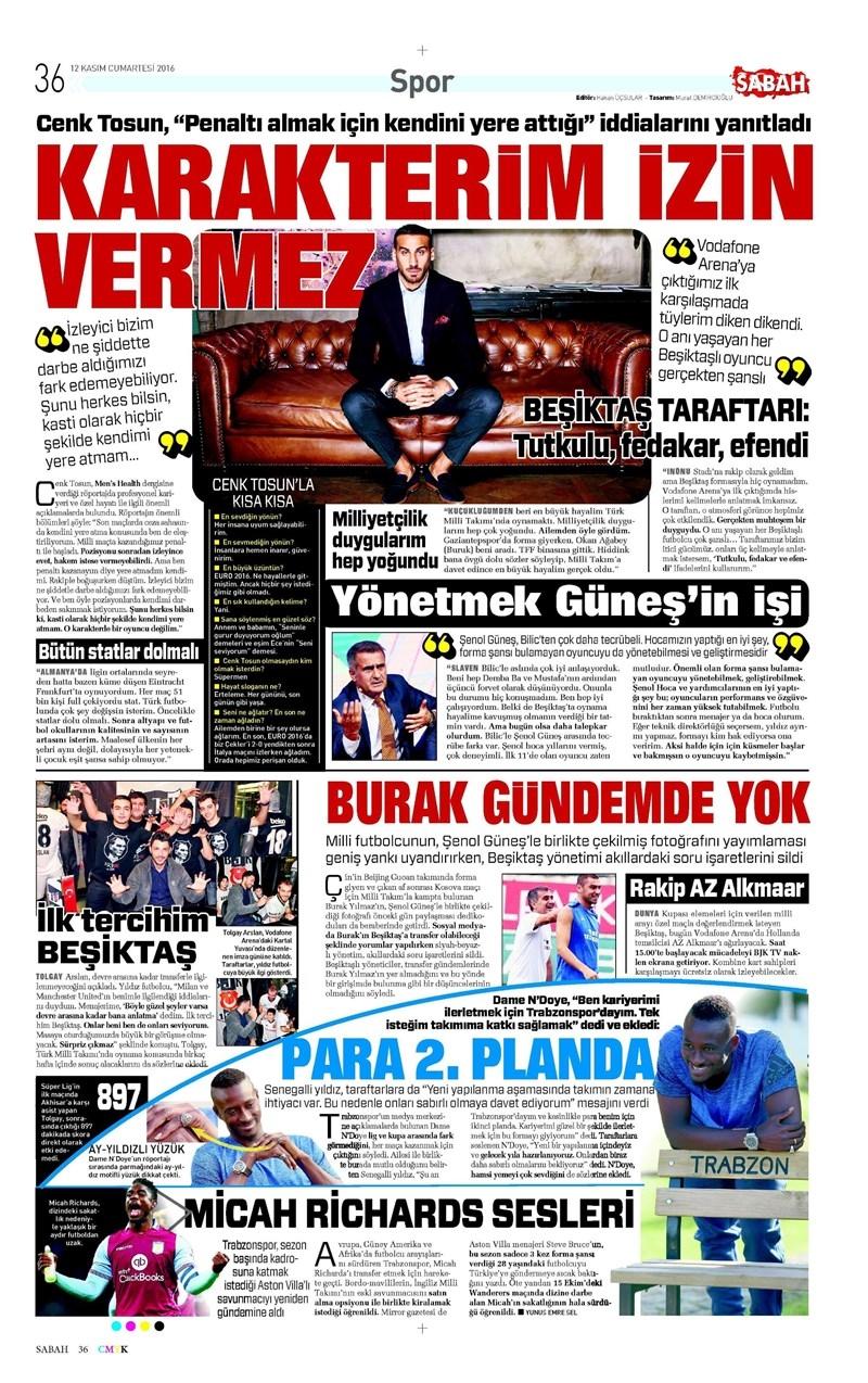 12 Kasım 2016 | Gazetelerin Beşiktaş sayfaları 6