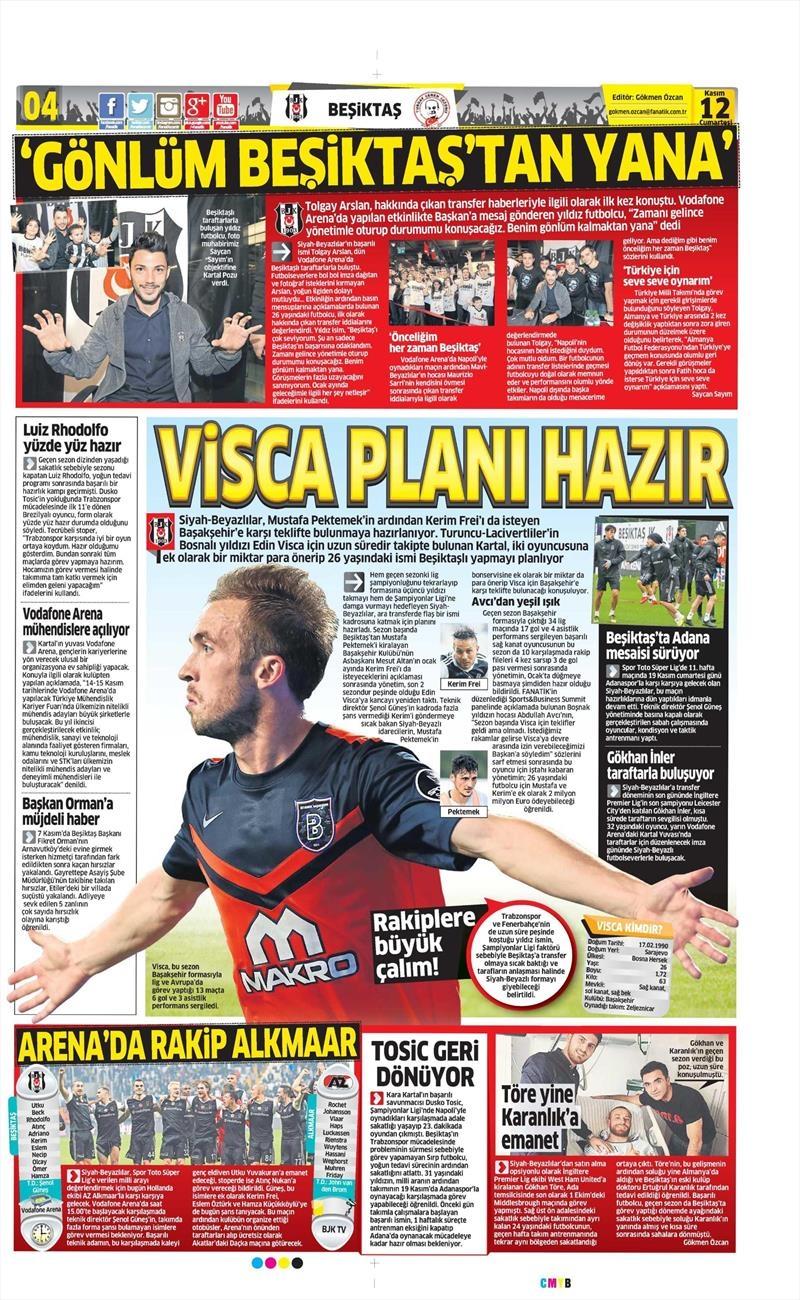 12 Kasım 2016 | Gazetelerin Beşiktaş sayfaları 8
