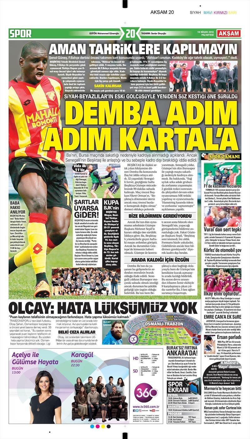 16 Nisan 2018   Gazetelerin Beşiktaş Manşetleri 1