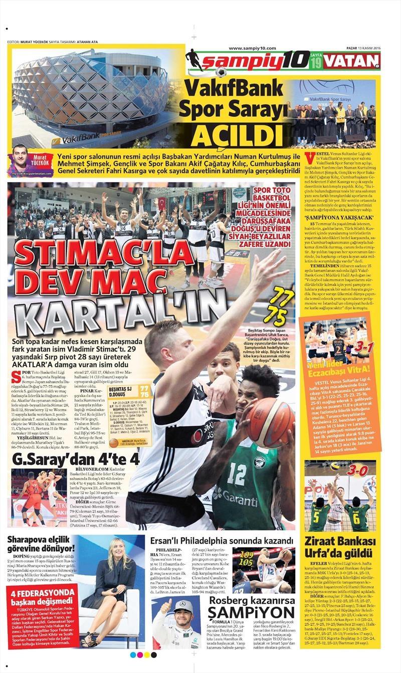 13 Kasım 2016 | Gazetelerin Beşiktaş sayfaları 1