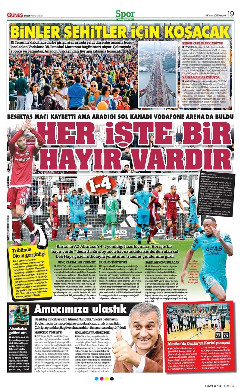 13 Kasım 2016 | Gazetelerin Beşiktaş sayfaları 10