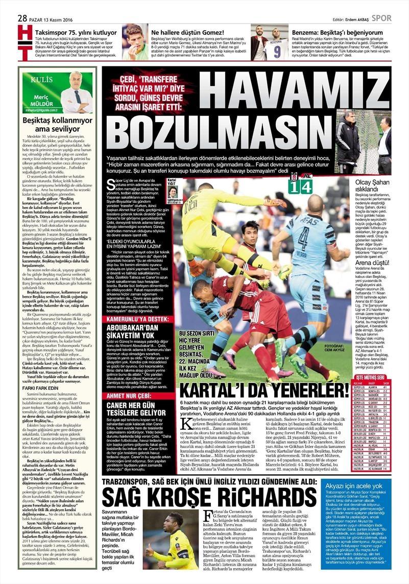 13 Kasım 2016   Gazetelerin Beşiktaş sayfaları 11