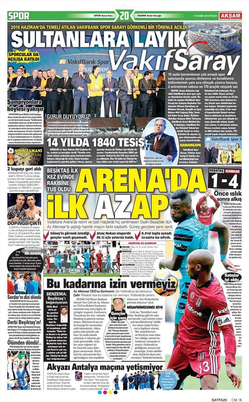13 Kasım 2016 | Gazetelerin Beşiktaş sayfaları 13