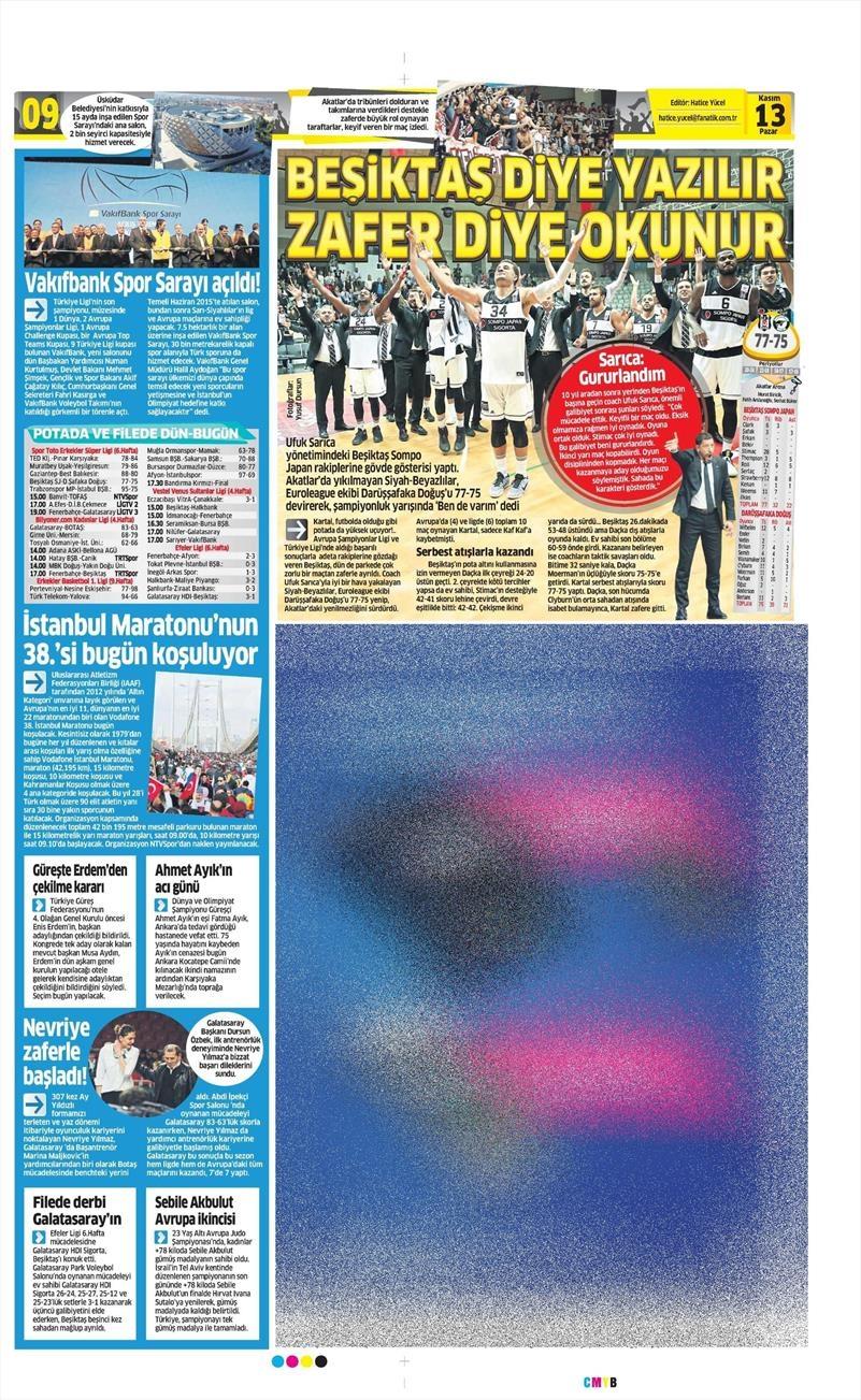 13 Kasım 2016 | Gazetelerin Beşiktaş sayfaları 14