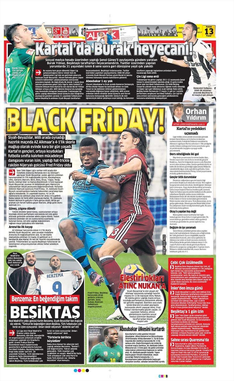 13 Kasım 2016   Gazetelerin Beşiktaş sayfaları 15