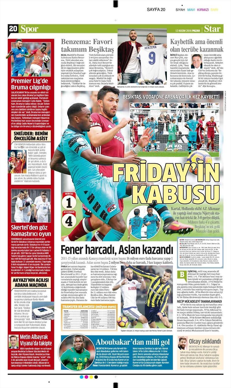 13 Kasım 2016 | Gazetelerin Beşiktaş sayfaları 3