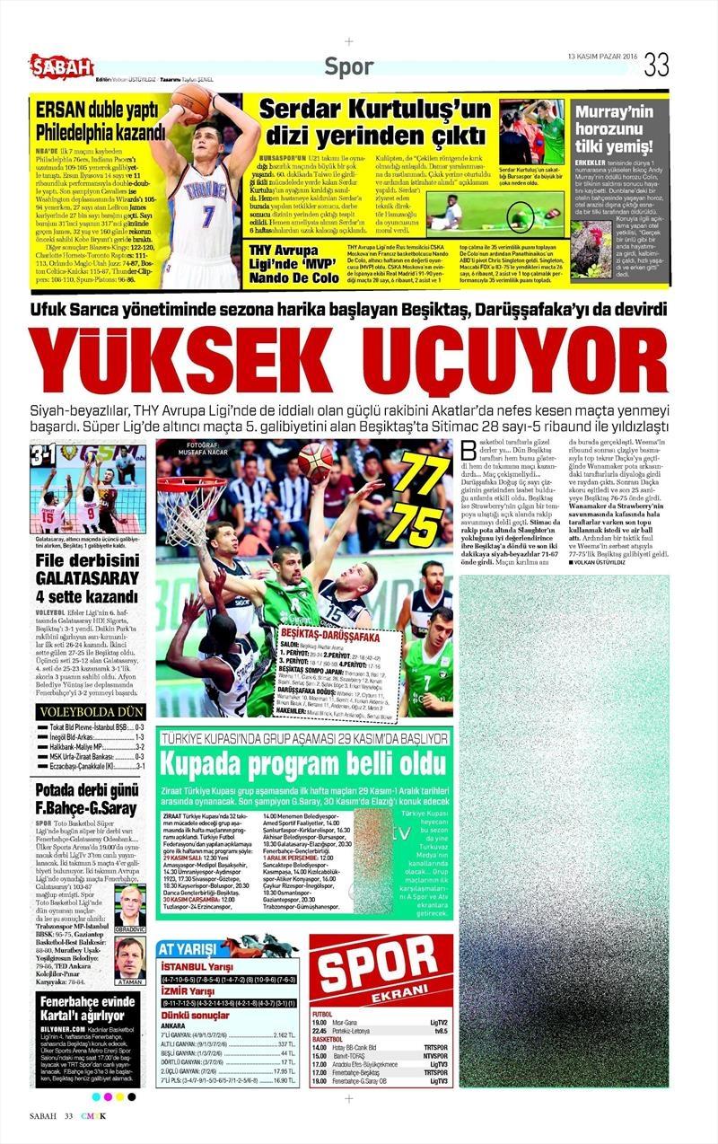13 Kasım 2016 | Gazetelerin Beşiktaş sayfaları 5