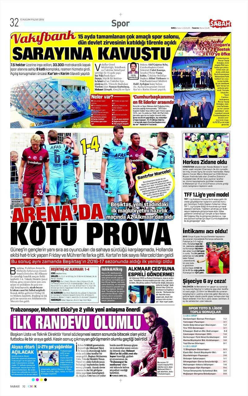 13 Kasım 2016 | Gazetelerin Beşiktaş sayfaları 6
