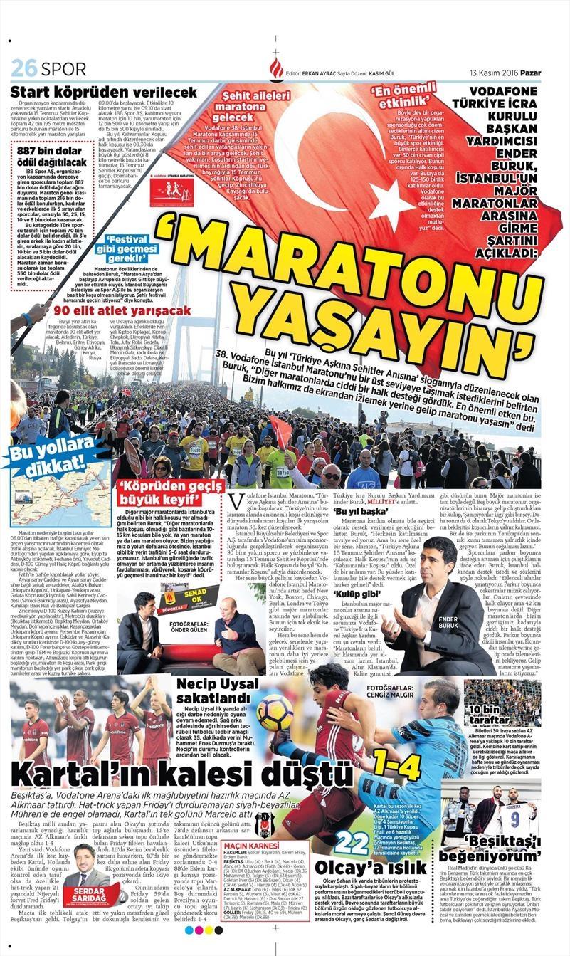 13 Kasım 2016   Gazetelerin Beşiktaş sayfaları 8