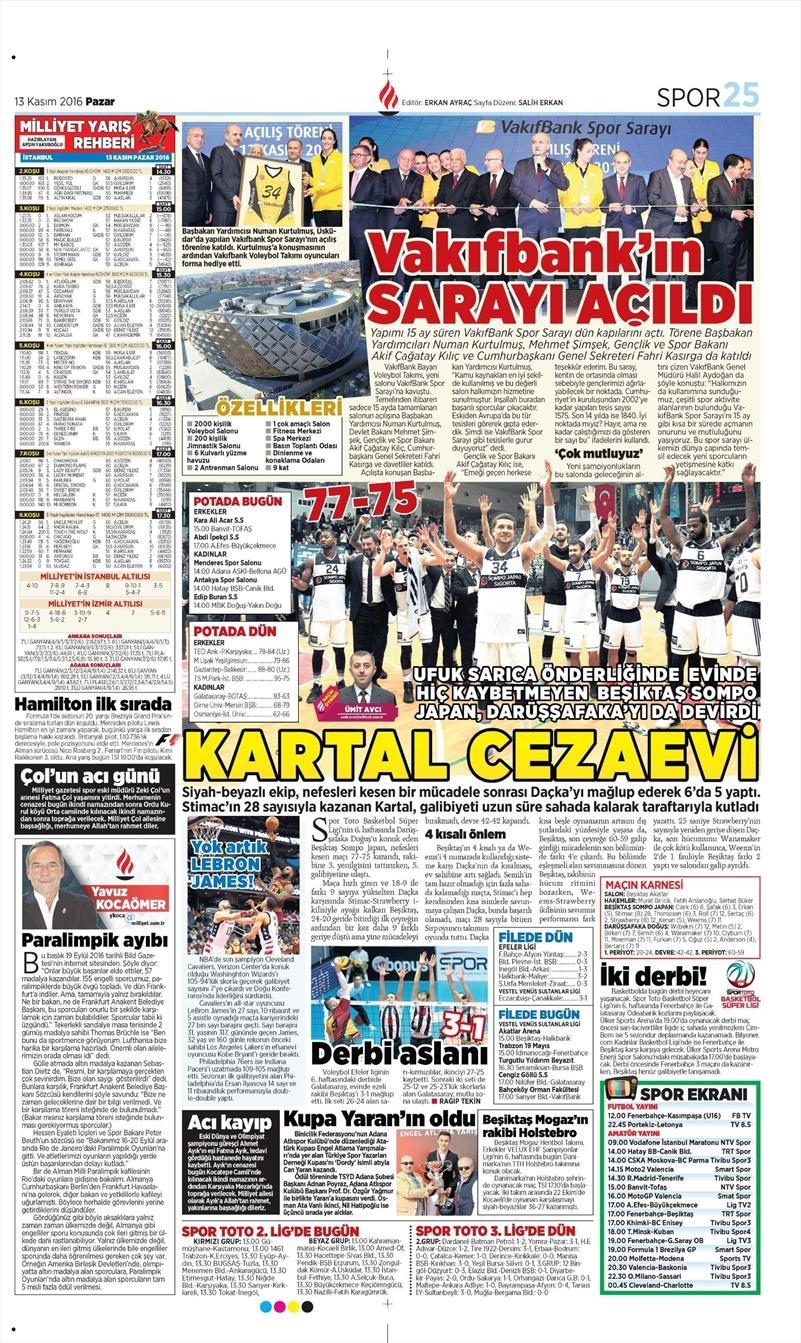 13 Kasım 2016 | Gazetelerin Beşiktaş sayfaları 9
