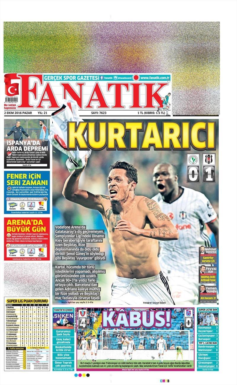 2 Ekim 2016 | Beşiktaş sayfaları 1