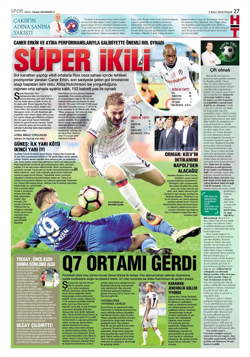 2 Ekim 2016 | Beşiktaş sayfaları 10